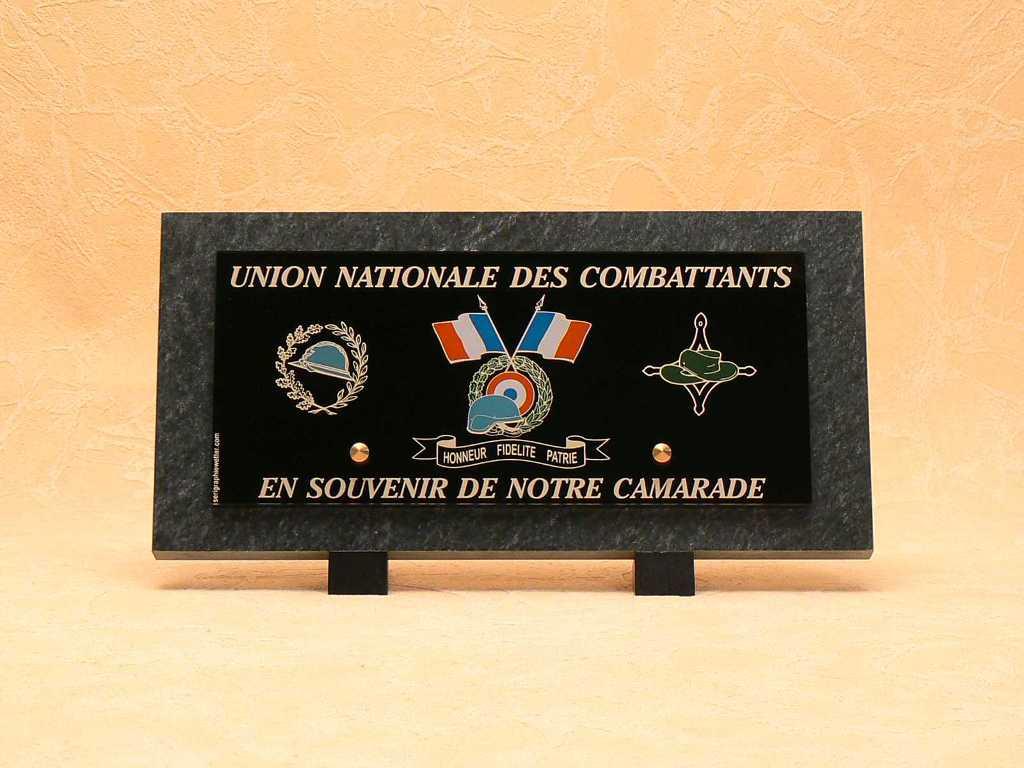 UNC plaque funéraire pour anciens combattants