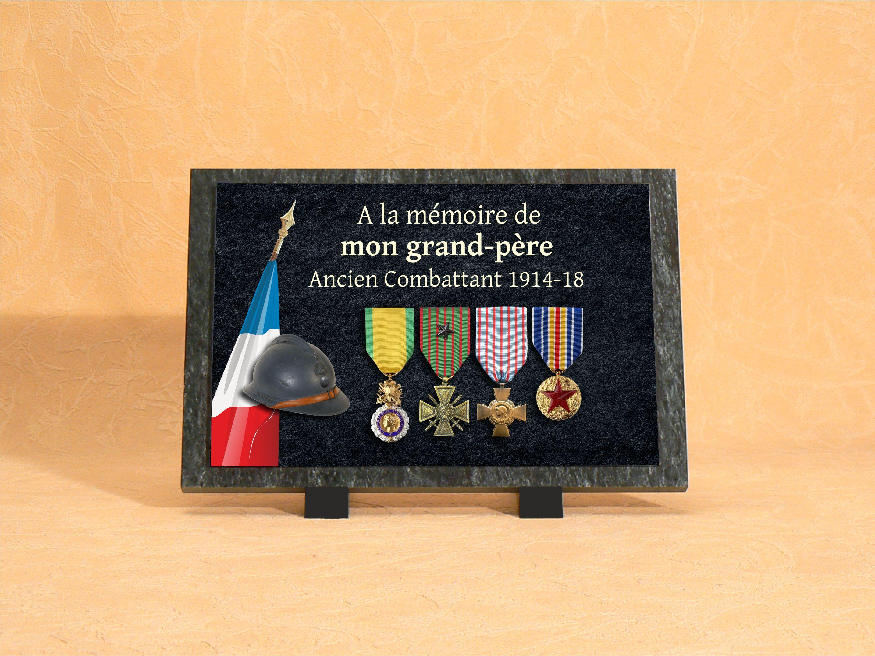 Plaque funéraire personnalisée avec médailles