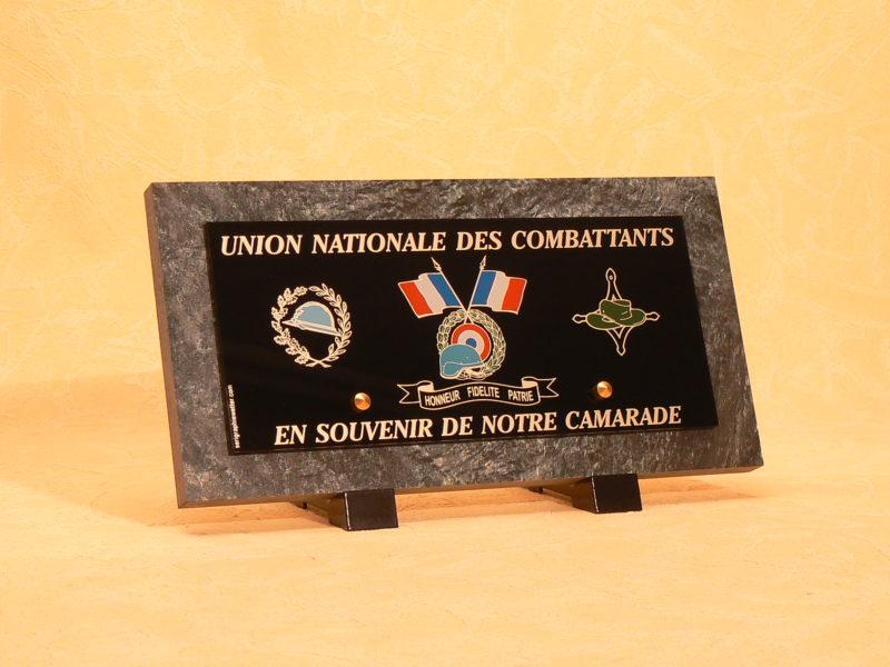 Plaque funéraire anciens combattants UNC