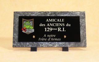 plaque funéraire amicale 129ème RI