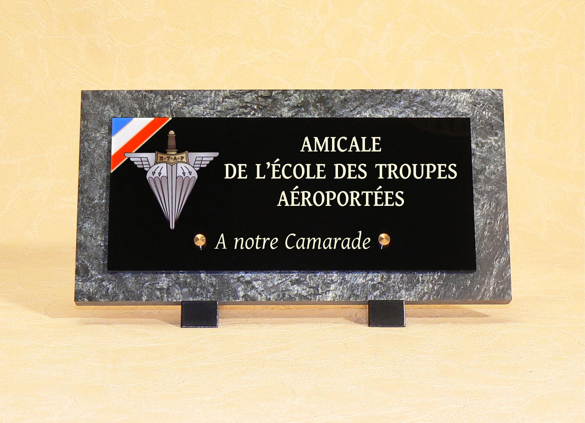 plaque funéraire Ecole troupes aéroportées
