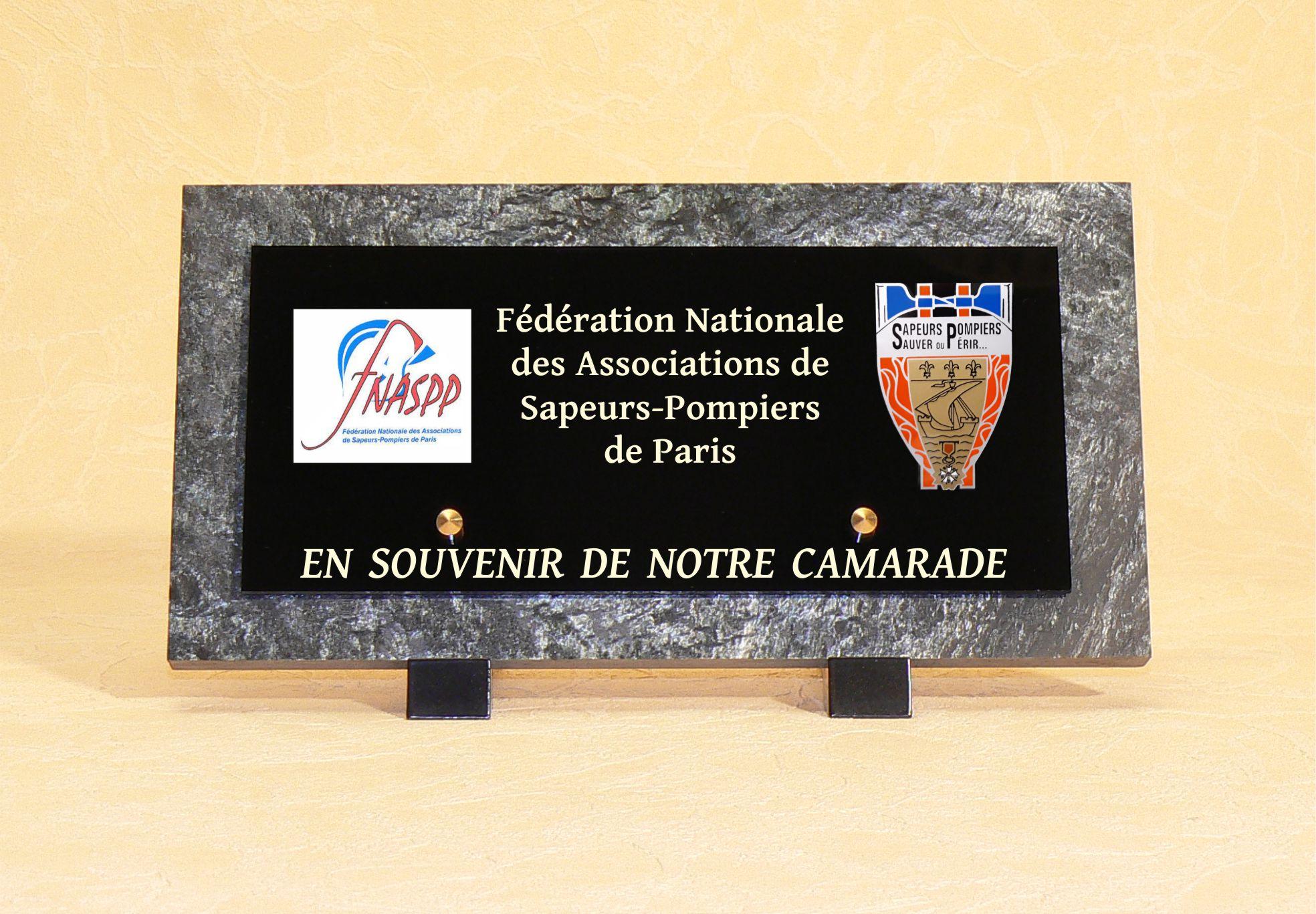 plaque funéraire sapeurs pompiers de Paris